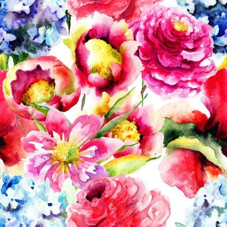 Photo pour Fond d'écran sans soudure avec des fleurs de printemps, aquarelle - image libre de droit