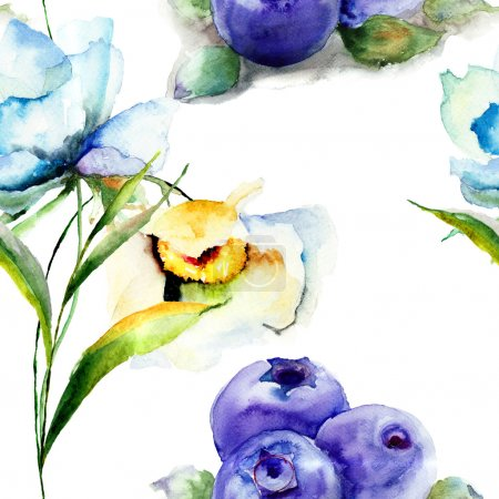 Photo for Seamless pattern with summer flowers and Blueberries, watercolor illustration - Royalty Free Image