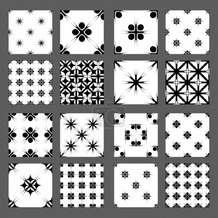 Illustration for Collection of 16 Universal different vector seamless patterns. Endless texture can be used for wallpaper pattern fills web page background surface textures. Set of monochrome geometric ornaments. - Royalty Free Image