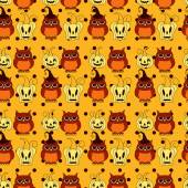 Seamless vector Halloween pattern with pumpkins and owls on orange polka dots background