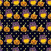 Seamless vector Halloween pattern with owls and pumpkins on black polka dots background