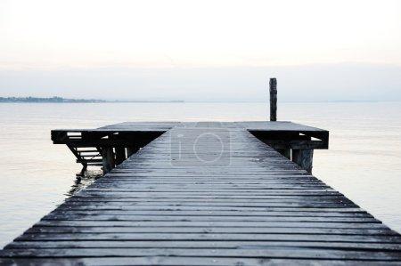 Wooden dock on a beautiful lake