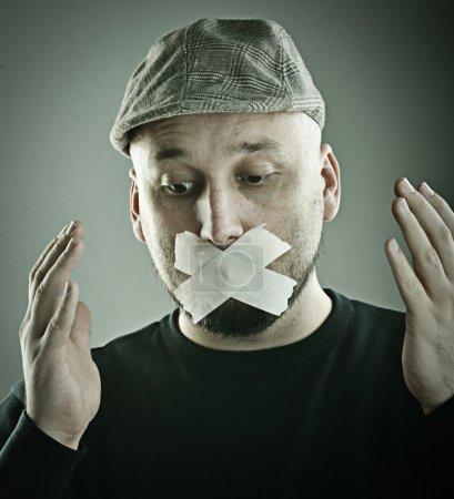 Man forbidden speaking concept