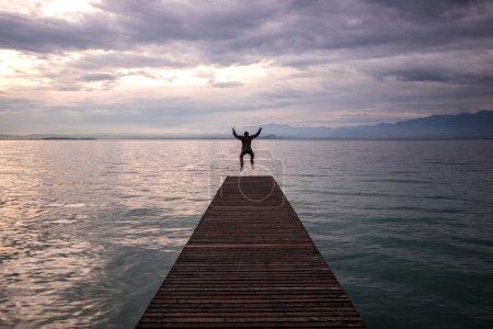 Jumping man celebrating
