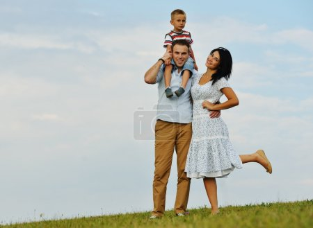 Photo for Happy family in nature having fun on green summer grass meadow - Royalty Free Image