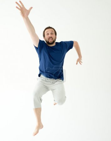 Man jumping and making gestures and expressions