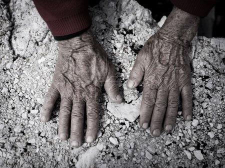 Photo for Aging process, very old senior woman hands wrinkled skin - Royalty Free Image