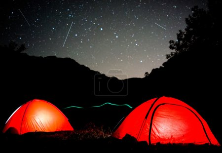 Photo for Milky way sky stars over mountain, high tent camp - Royalty Free Image
