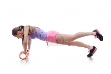 sports woman does exercise
