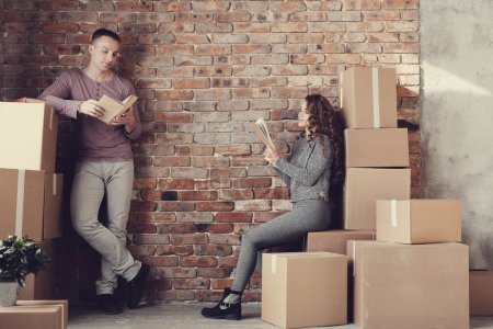 couple during moving home