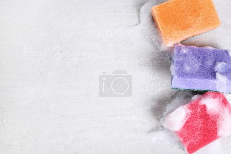 Photo for Colorful cleaner Sponges with foam - Royalty Free Image