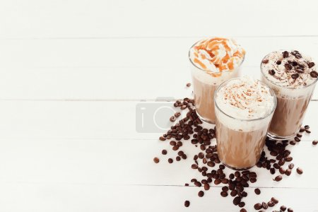Three cups of tasty frappe coffee
