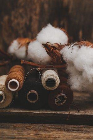 Threads with cotton flower