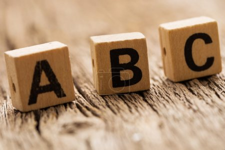 Letters a b c on toy bricks