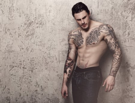 Tattooed man with perfect body