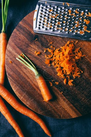 Grated carrots on the table