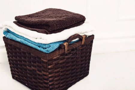 Wicker basket with clean towels