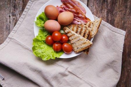 Delicious breakfast in white dish