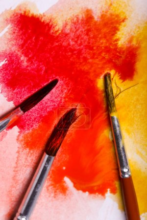 Photo for Colors, art. Colorful watercolor paint and brushes - Royalty Free Image