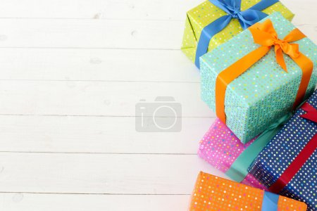 Holiday Gifts boxes on floor. Celebration. Gifts o...