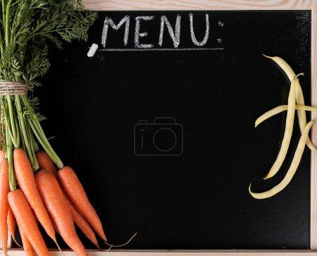 vegetables menu on board