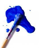 Blue paint brush  and stains