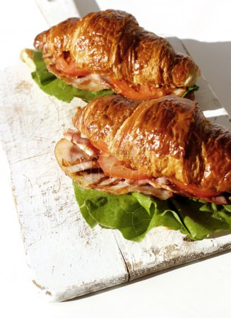 Photo for Delicious tasty sandwiches out of croissant - Royalty Free Image