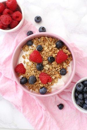 Muesli with berries in bowl