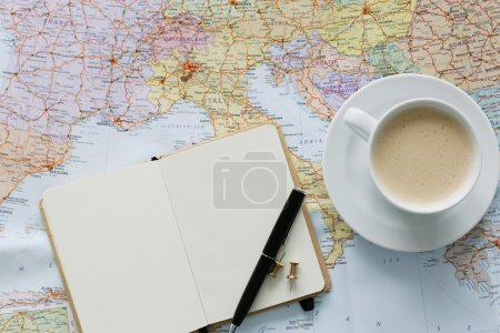 Traveling map on table
