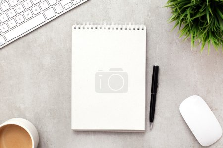 Photo for Workplace with office supplies in table - Royalty Free Image