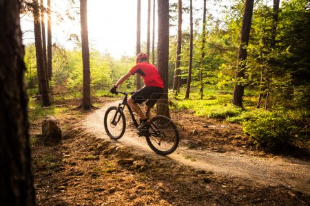 Photo pour Vélo de montagne, équitation en vélo au printemps, paysage de montagnes inspirantes. L'homme VTT cyclisme sur piste piste enduro. Inspiration et motivation de remise en forme sport. - image libre de droit
