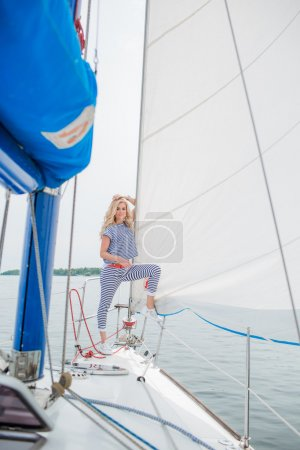 Woman on her private yacht