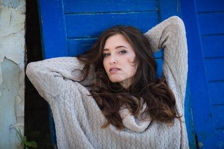 Beautiful woman in warm sweater