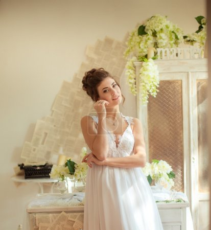 Photo for Beautiful bride in white dress at wedding day - Royalty Free Image