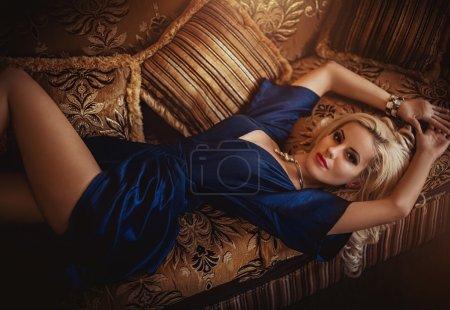Sexy blonde girl in dress