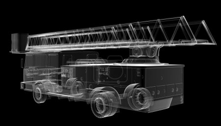 Isoladed transparent fire truck