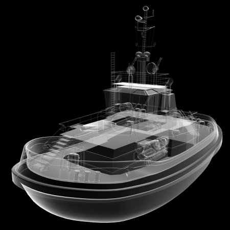 Isolated transparent fishing boat