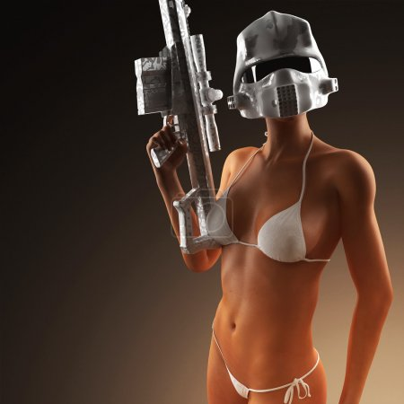 Beautiful sexy bikini woman holding army weapon