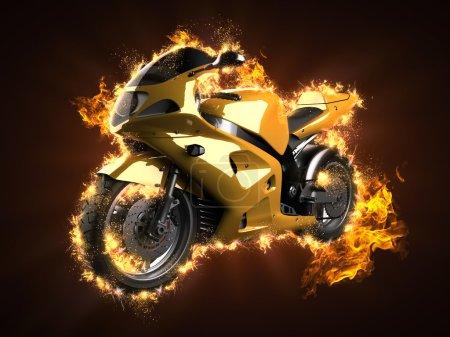 Luxury sportbike in fire...