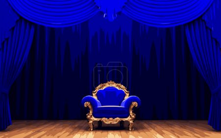 vector chair snd blue velvet curtain stage
