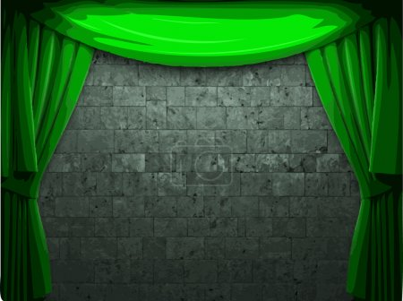 vector velvet curtain and stone wall background