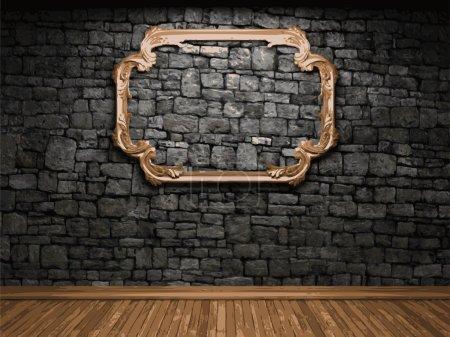 Illustration pour Mur de pierre illuminé vectoriel et cadre - image libre de droit