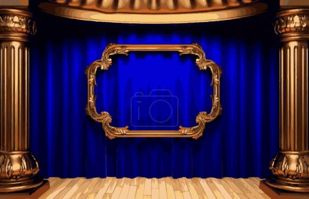 vector golden frame and blue curtain stage