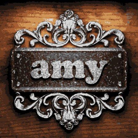 Illustration pour Amy vecteur métal mot sur bois - image libre de droit