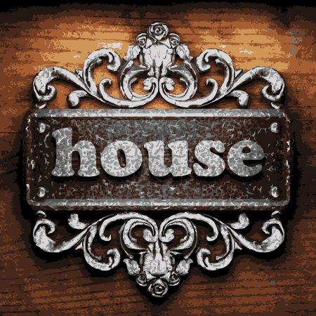 Illustration pour Maison vecteur métal mot sur bois - image libre de droit