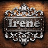 Irene vector metal word on wood