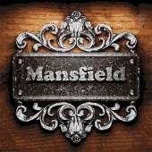Mansfield vector metal word on wood