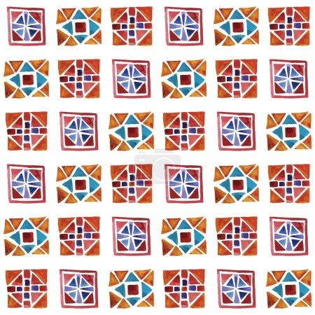 Seamless Watercolor Geometric Pattern