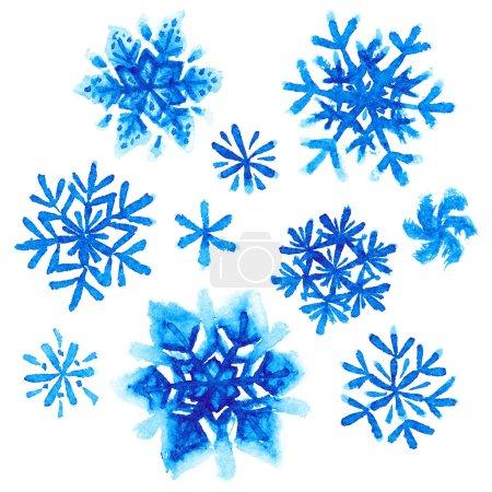 Foto de Set de acuarela copos de nieve pintados sobre fondo blanco - Imagen libre de derechos