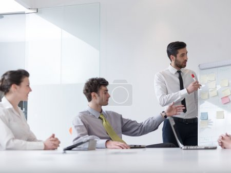 group of young business people  on meeting at modern startup off